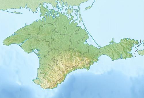 Reliefkarte der Halbinsel Krim - Quelle: https://upload.wikimedia.org/wikipedia/commons/6/6d/Relief_map_of_Crimea.jpg