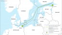 Die Route der Erdgaspipeline Nord Stream 2 durch die Ostsee.