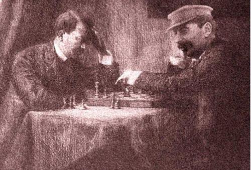 Hitler und Stalin beim Schach