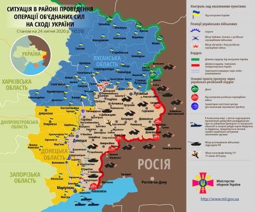 Ostukraine / Donbass - Karte vom 24. Juli 2020