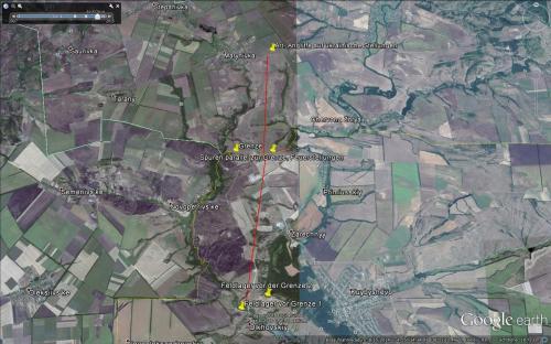 Darstellung der Situation am 15.08,2014 bei Maryniwka im Überblick