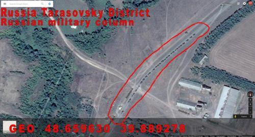 Eine russische Militärkolonne unmittelbar an der Grenze zum Luhansker Gebiet Anfang September 2014