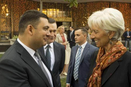 Ministerpräsident Wolodymyr Hrojsman und IWF-Chefin Christine Lagarde bei einem Treffen