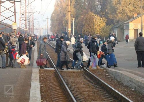 Bahnhofsszene in der Ukraine