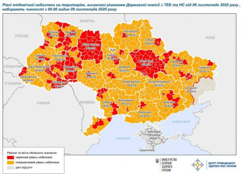 Quarantänezonen in der Ukraine - Stand. 9. November 2020