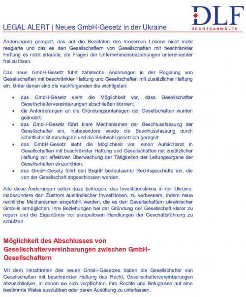 DLF - Neues GmbH-Gesetz in der Ukraine