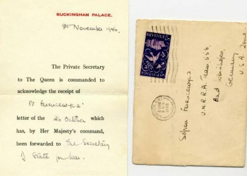 Eingangsbestätigung des Briefs an die britische Königin