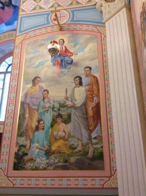 Fresko der Familie Poroschenko in ihrer Hauskirche
