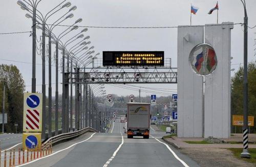 Grenzübergang zwischen Belarus und Russland