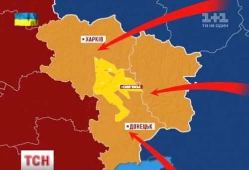 Karte von Slowjansk/Slawjansk und dem Jusiwka/Jusowka-Erdgasfeld