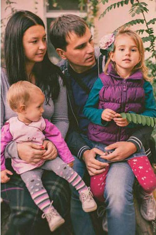 Katharina Woronina mit Familie