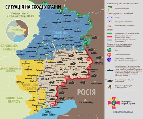 Lage in der Ostukraine am 30. Januar 2018 aus Regierungssicht