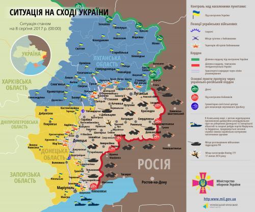 Lage in der Ostukraine am 8. August 2017 aus Regierungssicht