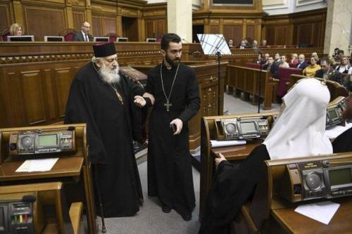 Ljubomyr Husar und Filaret in der Rada. Bild: 24 Kanal