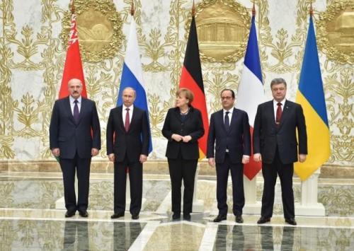 Lukaschenko, Putin, Merkel, Hollande, Poroschenko in Minsk