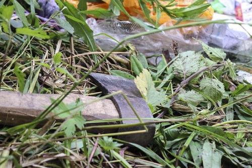Axt beim angegriffenen Romalager in Lwiw