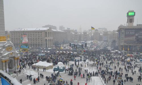 """Die Protestkundgebungen im Zentrum von Kyjiw im Spätherbst 2013 wurden schnell """"EuroMajdan"""" genannt, wurden dann aber als Revolution der Würde bezeichnet. Foto: Jurij Charytontschuk"""