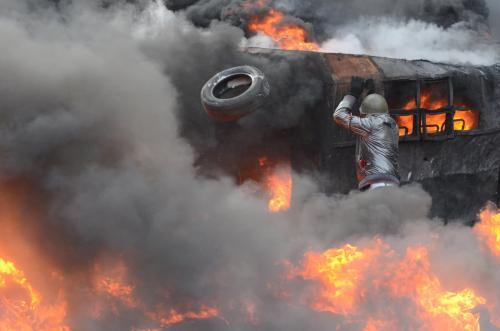 Die Selbstorganisation der Ukrainer im Majdan erinnerte an die Zeiten der Saporischschjaer Sitsch. Foto: Walerij Schmakow