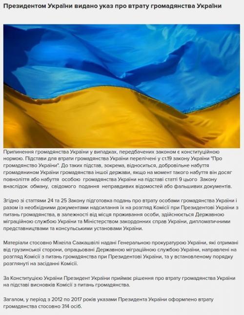 Screenshot der Mitteilung des Migrationsdiensts zum Entzug der Staatsbürgerschaft von Michail Saakaschwili