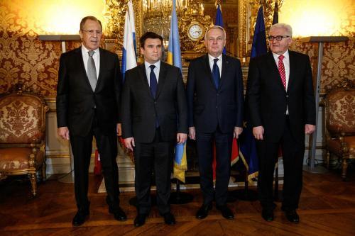 Treffen der vier Außenminister des Normandie-Formats in Paris: Sergej Lawrow (Russland), Pawlo Klimkin (Ukraine), Jean-Marc Ayrault (Frankreich), Frank-Walter Steinmeier (Deutschland), Foto: Flickr des russischen Außenministeriums