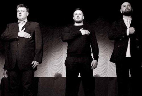 Oleh Tjahnybok (Swoboda), Andrij Bilezkyj (Nazionalnyj Korpus) und Andrij Tarassenko (Prawyj Sektor)