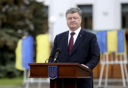 Petro Poroschenko bei einem Arbeitsbesuch im Donbass.