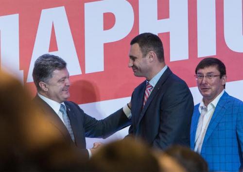 Pjotr Poroschenko, Witalij Klitschko und Jurij Luzenko