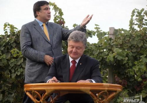 Poroschenko und Saakaschwili im Weinberg