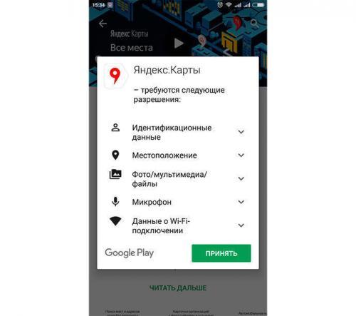 Rechte der Androidapplikation von Yandex Karty
