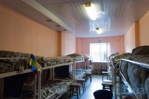 Schlafraum im Obdachlosenasyl in Kiew