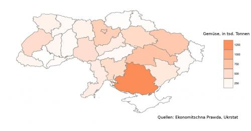 ukrainische Gemüseernte nach Oblasten