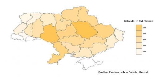 ukrainische Getreideernte nach Oblasten