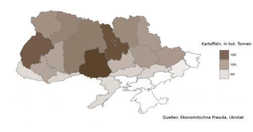 ukrainische Kartoffelernte nach Oblasten