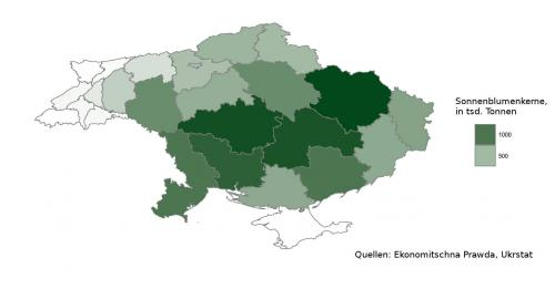 ukrainische Sonnenblumenkernernte nach Oblasten