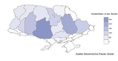 ukrainische Zuckerrübenernte nach Oblasten