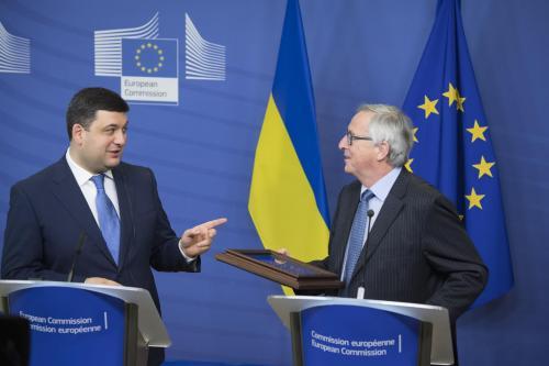 Wolodymyr Hrojsman und Jean-Claude Juncker in Brüssel
