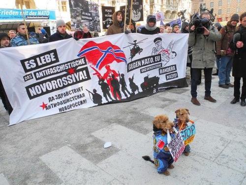 Antiimp-Clowns gegen Nato, EU und ukrainische Bandera-Nazis und Hunden in Berkut-Kleidung