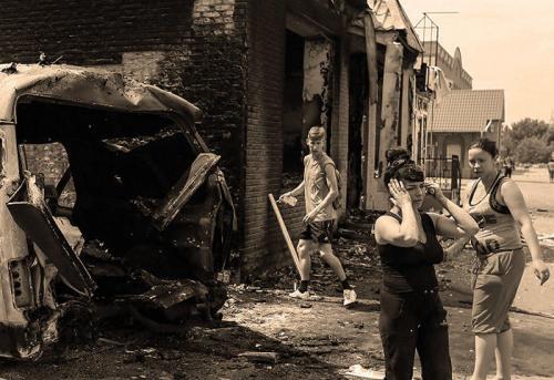 Zerstörungen im Donbassgebiet