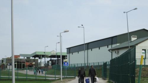 Fußgänger an der polnisch-ukrainischen Grenze