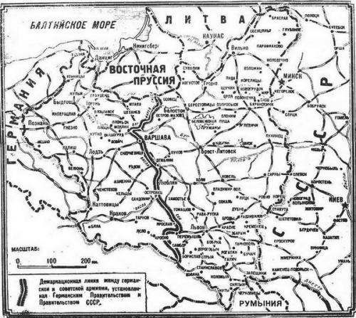 """""""Augustlinie"""" der Aufteilung der """"Interessensphären"""" der Sowjetunion und des Deutschen Reiches."""