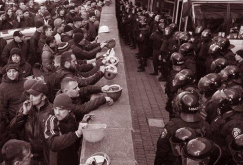 Demonstration von ukrainischen Bergarbeitern